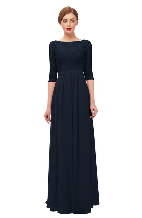 ColsBM Neriah Navy Blue Bridesmaid Dresses Lace Antique Zipper Boat Floor Length Half Length Sleeve