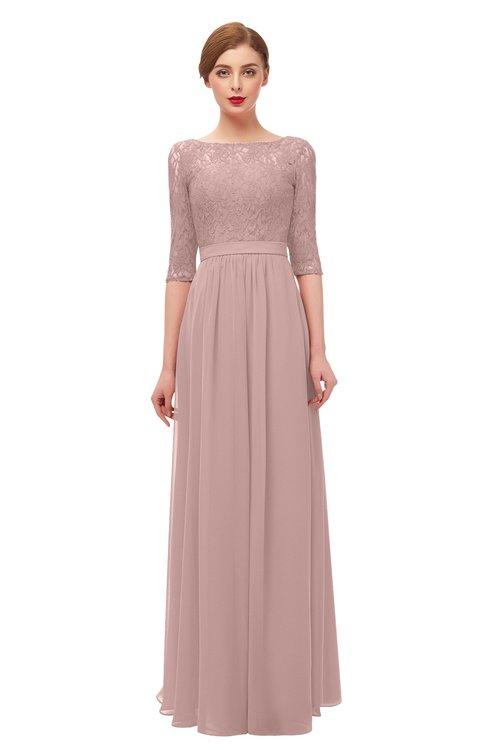 ColsBM Neriah Nectar Pink Bridesmaid Dresses Lace Antique Zipper Boat Floor Length Half Length Sleeve