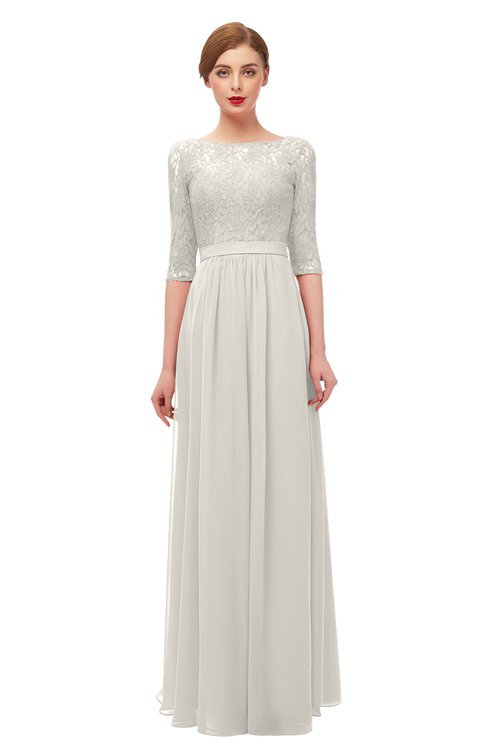 ColsBM Neriah Off White Bridesmaid Dresses Lace Antique Zipper Boat Floor Length Half Length Sleeve