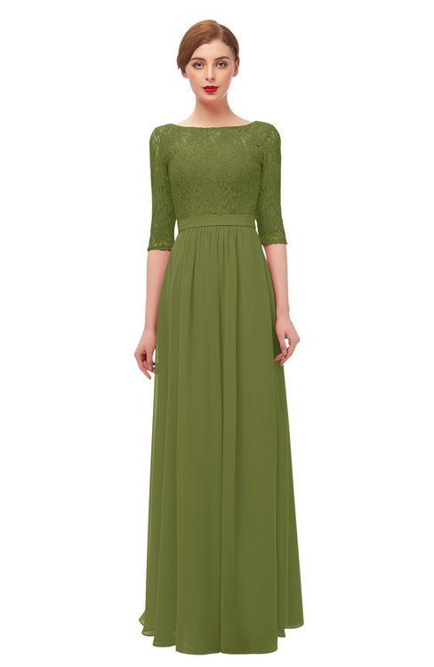 ColsBM Neriah Olive Green Bridesmaid Dresses Lace Antique Zipper Boat Floor Length Half Length Sleeve