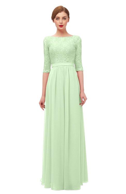 ColsBM Neriah Pale Green Bridesmaid Dresses Lace Antique Zipper Boat Floor Length Half Length Sleeve