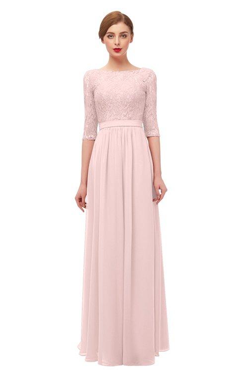 ColsBM Neriah Pastel Pink Bridesmaid Dresses Lace Antique Zipper Boat Floor Length Half Length Sleeve