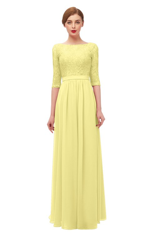 ColsBM Neriah Pastel Yellow Bridesmaid Dresses Lace Antique Zipper Boat Floor Length Half Length Sleeve