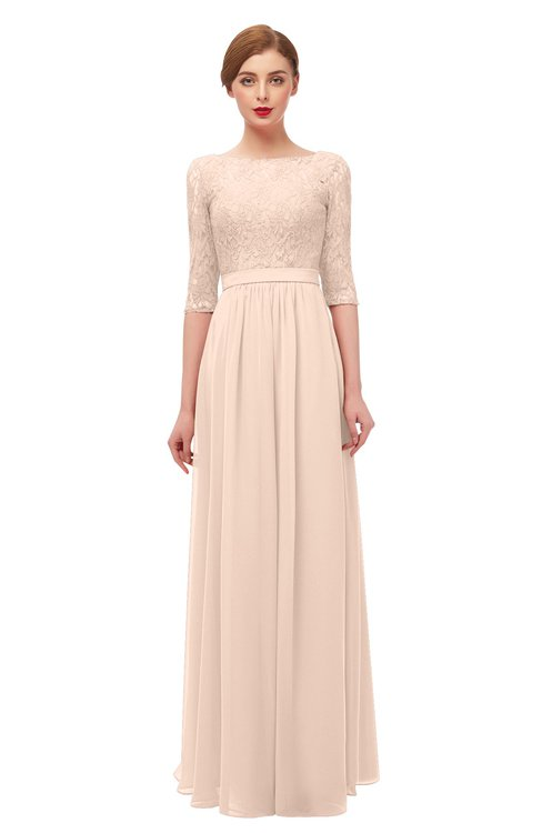 ColsBM Neriah Peach Puree Bridesmaid Dresses Lace Antique Zipper Boat Floor Length Half Length Sleeve
