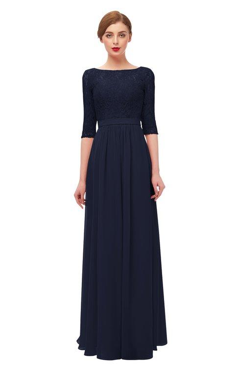 ColsBM Neriah Peacoat Bridesmaid Dresses Lace Antique Zipper Boat Floor Length Half Length Sleeve