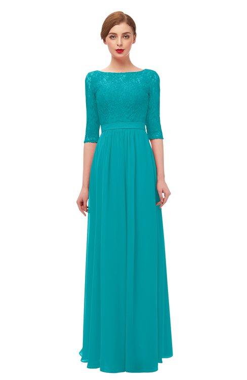 ColsBM Neriah Peacock Blue Bridesmaid Dresses Lace Antique Zipper Boat Floor Length Half Length Sleeve