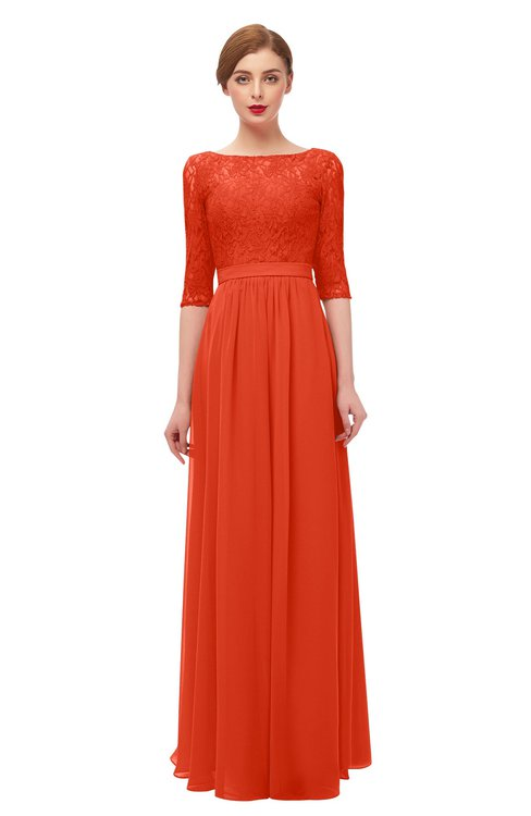 ColsBM Neriah Persimmon Bridesmaid Dresses Lace Antique Zipper Boat Floor Length Half Length Sleeve