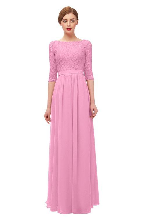 ColsBM Neriah Pink Bridesmaid Dresses Lace Antique Zipper Boat Floor Length Half Length Sleeve