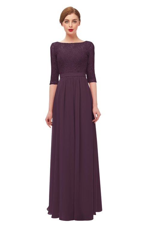 ColsBM Neriah Plum Bridesmaid Dresses Lace Antique Zipper Boat Floor Length Half Length Sleeve