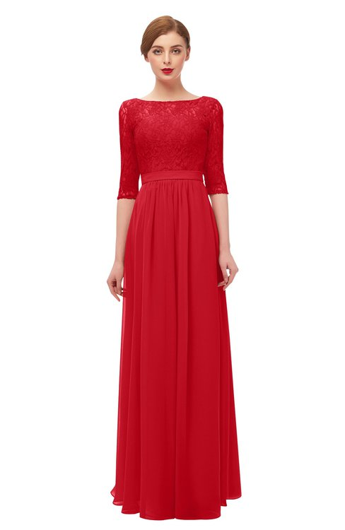 ColsBM Neriah Red Bridesmaid Dresses Lace Antique Zipper Boat Floor Length Half Length Sleeve