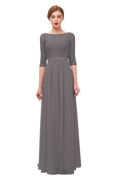 ColsBM Neriah Ridge Grey Bridesmaid Dresses Lace Antique Zipper Boat Floor Length Half Length Sleeve