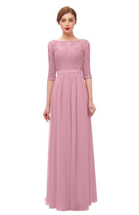 ColsBM Neriah Rosebloom Bridesmaid Dresses Lace Antique Zipper Boat Floor Length Half Length Sleeve