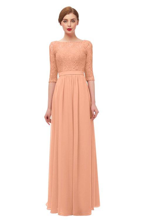 ColsBM Neriah Salmon Bridesmaid Dresses Lace Antique Zipper Boat Floor Length Half Length Sleeve