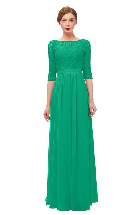 ColsBM Neriah Sea Green Bridesmaid Dresses Lace Antique Zipper Boat Floor Length Half Length Sleeve