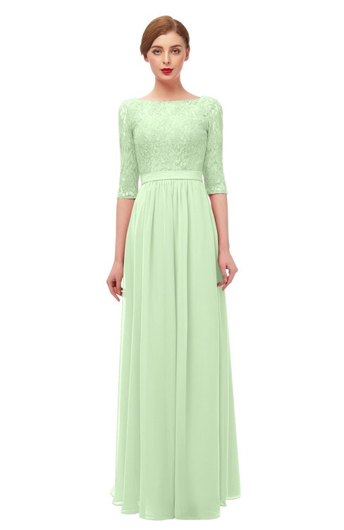 ColsBM Neriah Seacrest Bridesmaid Dresses Lace Antique Zipper Boat Floor Length Half Length Sleeve