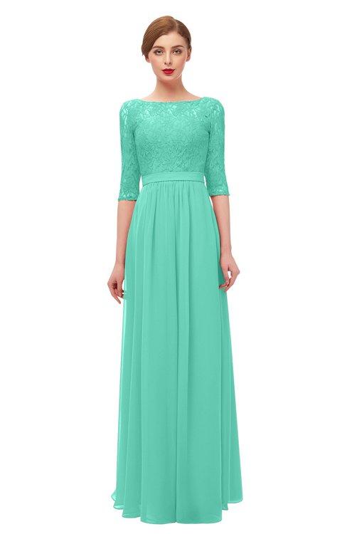 ColsBM Neriah Seafoam Green Bridesmaid Dresses Lace Antique Zipper Boat Floor Length Half Length Sleeve