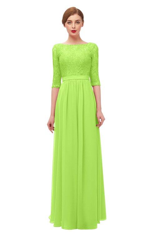 ColsBM Neriah Sharp Green Bridesmaid Dresses Lace Antique Zipper Boat Floor Length Half Length Sleeve
