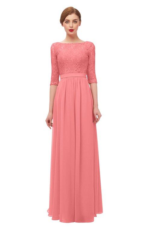 ColsBM Neriah Shell Pink Bridesmaid Dresses Lace Antique Zipper Boat Floor Length Half Length Sleeve