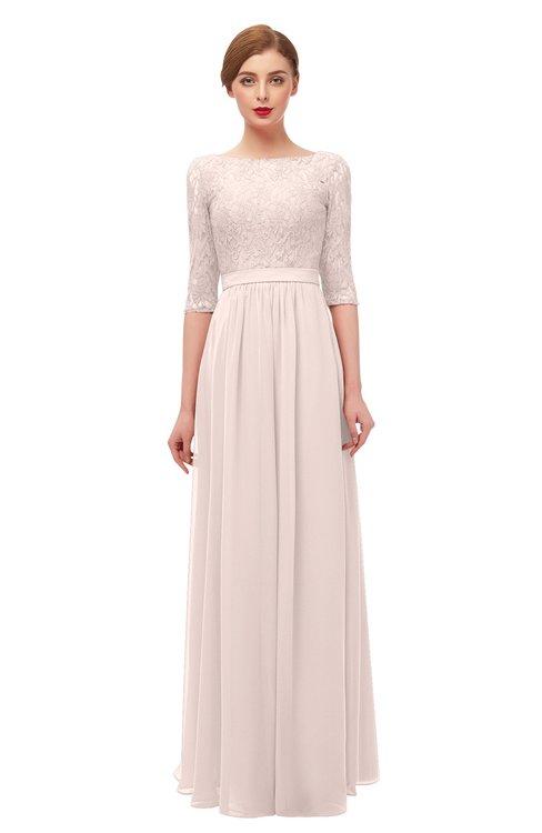 ColsBM Neriah Silver Peony Bridesmaid Dresses Lace Antique Zipper Boat Floor Length Half Length Sleeve