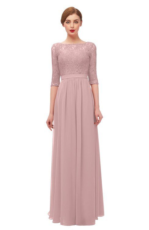 ColsBM Neriah Silver Pink Bridesmaid Dresses Lace Antique Zipper Boat Floor Length Half Length Sleeve