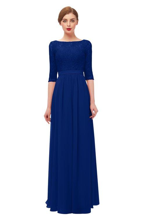 ColsBM Neriah Sodalite Blue Bridesmaid Dresses Lace Antique Zipper Boat Floor Length Half Length Sleeve
