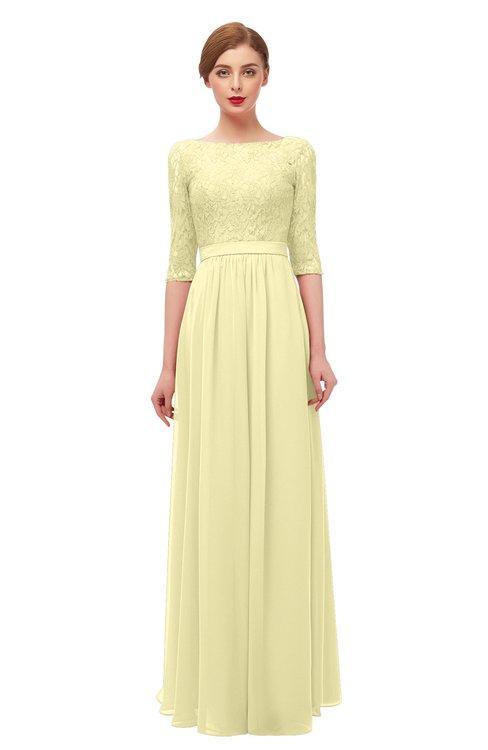 ColsBM Neriah Soft Yellow Bridesmaid Dresses Lace Antique Zipper Boat Floor Length Half Length Sleeve