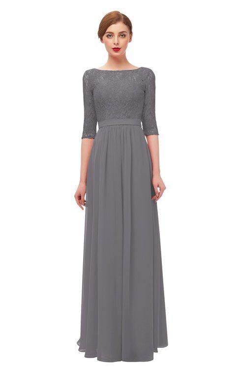 ColsBM Neriah Storm Front Bridesmaid Dresses Lace Antique Zipper Boat Floor Length Half Length Sleeve