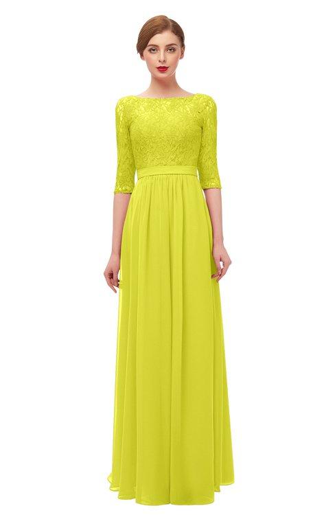 ColsBM Neriah Sulphur Spring Bridesmaid Dresses Lace Antique Zipper Boat Floor Length Half Length Sleeve