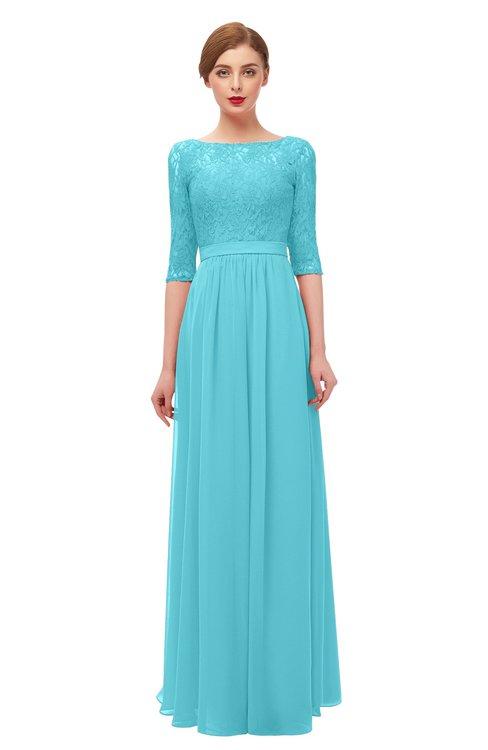 ColsBM Neriah Turquoise Bridesmaid Dresses Lace Antique Zipper Boat Floor Length Half Length Sleeve