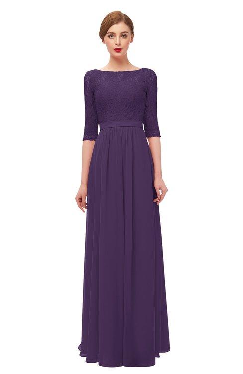 ColsBM Neriah Violet Bridesmaid Dresses Lace Antique Zipper Boat Floor Length Half Length Sleeve