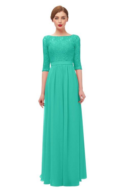 ColsBM Neriah Viridian Green Bridesmaid Dresses Lace Antique Zipper Boat Floor Length Half Length Sleeve