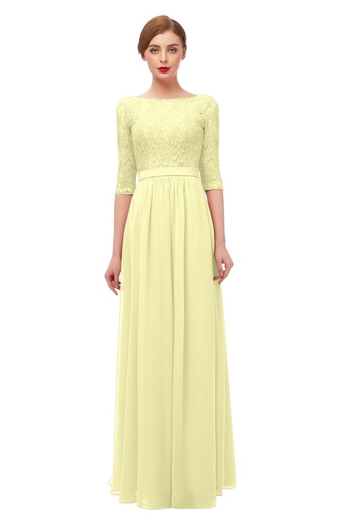 ColsBM Neriah Wax Yellow Bridesmaid Dresses Lace Antique Zipper Boat Floor Length Half Length Sleeve