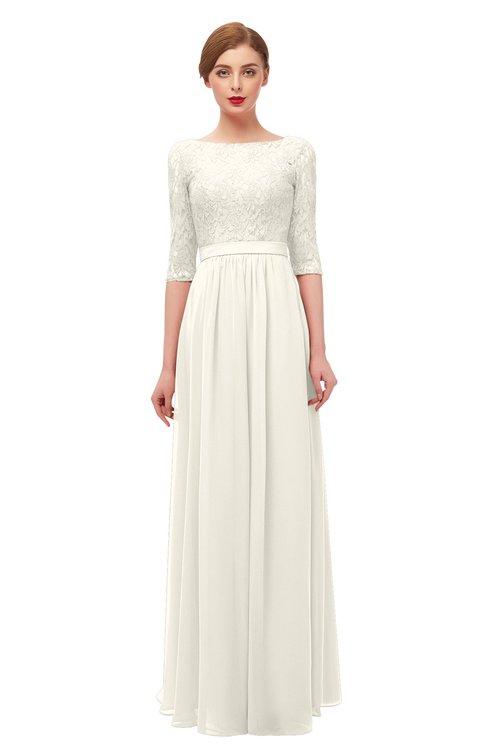 ColsBM Neriah Whisper White Bridesmaid Dresses Lace Antique Zipper Boat Floor Length Half Length Sleeve