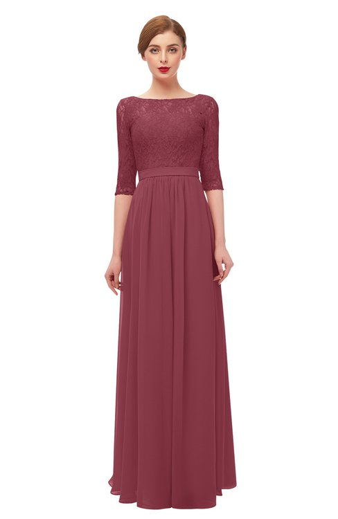 ColsBM Neriah Wine Bridesmaid Dresses Lace Antique Zipper Boat Floor Length Half Length Sleeve