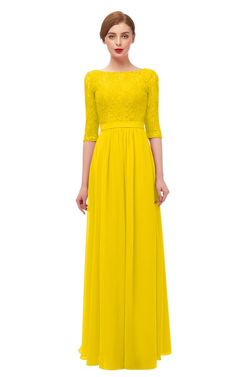 ColsBM Neriah Yellow Bridesmaid Dresses Lace Antique Zipper Boat Floor Length Half Length Sleeve