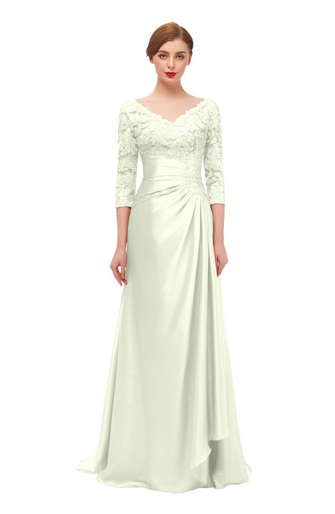 ColsBM Tatum Anise Flower Bridesmaid Dresses Luxury Zipper Three-fourths Length Sleeve Brush Train Lace V-neck