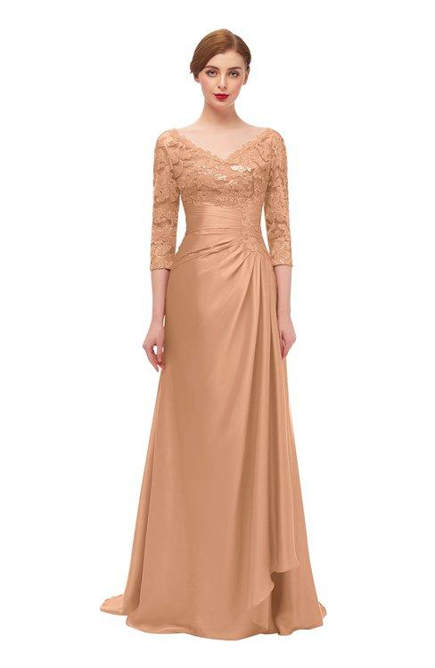 ColsBM Tatum Apricot Bridesmaid Dresses Luxury Zipper Three-fourths Length Sleeve Brush Train Lace V-neck