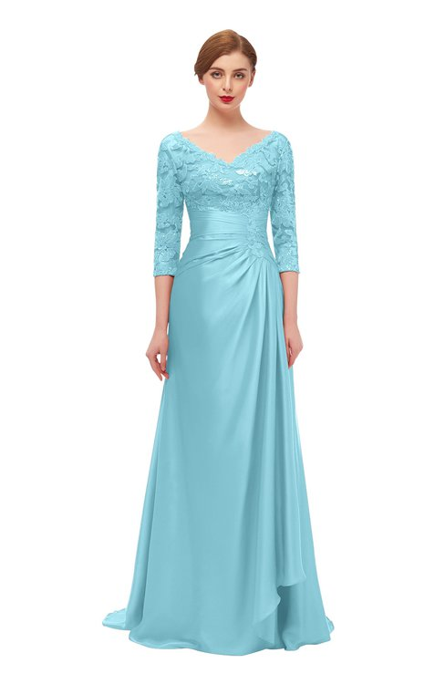 ColsBM Tatum Aqua Bridesmaid Dresses Luxury Zipper Three-fourths Length Sleeve Brush Train Lace V-neck