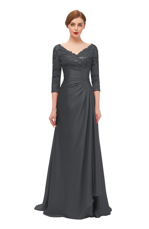 ColsBM Tatum Asphalt Bridesmaid Dresses Luxury Zipper Three-fourths Length Sleeve Brush Train Lace V-neck