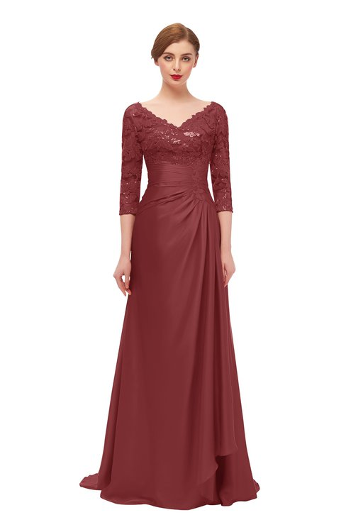 ColsBM Tatum Aurora Red Bridesmaid Dresses Luxury Zipper Three-fourths Length Sleeve Brush Train Lace V-neck