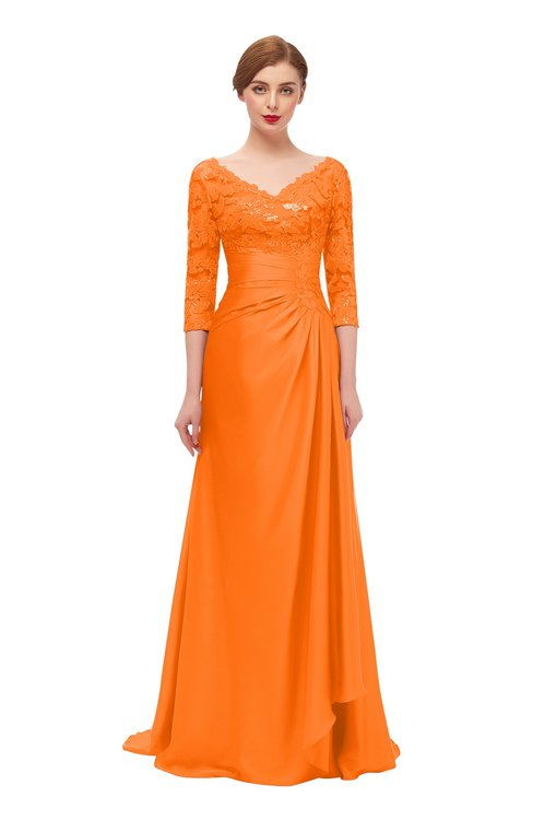 ColsBM Tatum Autumn Glory Bridesmaid Dresses Luxury Zipper Three-fourths Length Sleeve Brush Train Lace V-neck