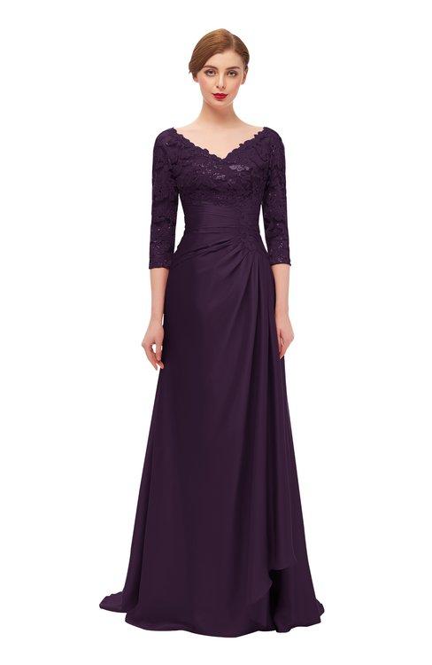 ColsBM Tatum Blackberry Wine Bridesmaid Dresses Luxury Zipper Three-fourths Length Sleeve Brush Train Lace V-neck