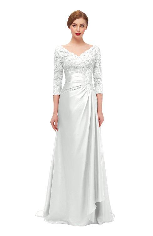 ColsBM Tatum Blanc De Blanc Bridesmaid Dresses Luxury Zipper Three-fourths Length Sleeve Brush Train Lace V-neck