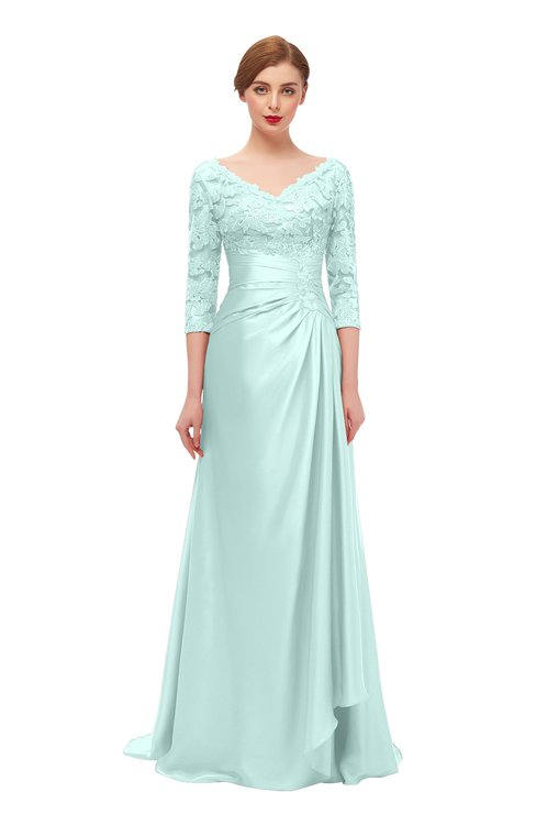 ColsBM Tatum Blue Glass Bridesmaid Dresses Luxury Zipper Three-fourths Length Sleeve Brush Train Lace V-neck