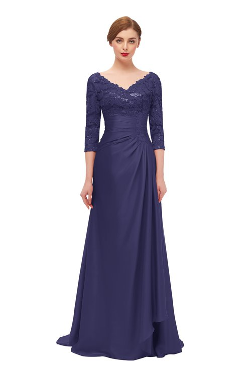 ColsBM Tatum Blue Ribbon Bridesmaid Dresses Luxury Zipper Three-fourths Length Sleeve Brush Train Lace V-neck
