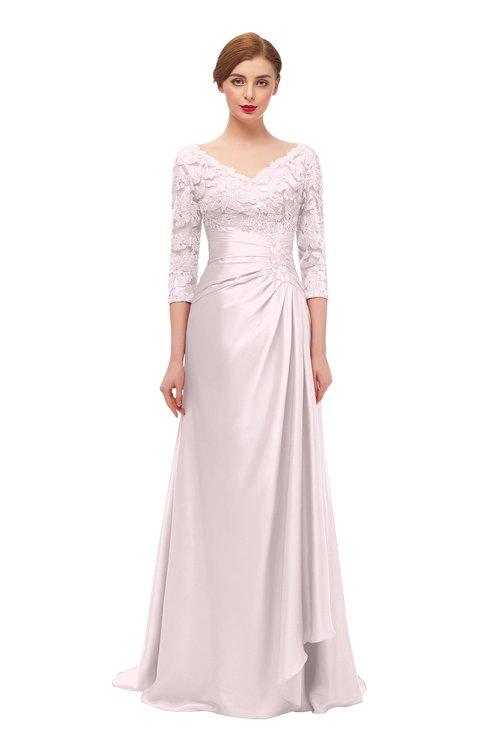 ColsBM Tatum Blush Bridesmaid Dresses Luxury Zipper Three-fourths Length Sleeve Brush Train Lace V-neck