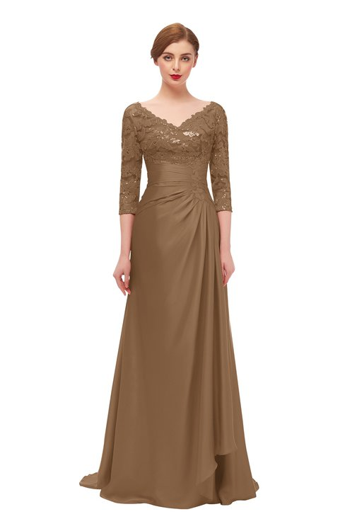 ColsBM Tatum Bronze Brown Bridesmaid Dresses Luxury Zipper Three-fourths Length Sleeve Brush Train Lace V-neck