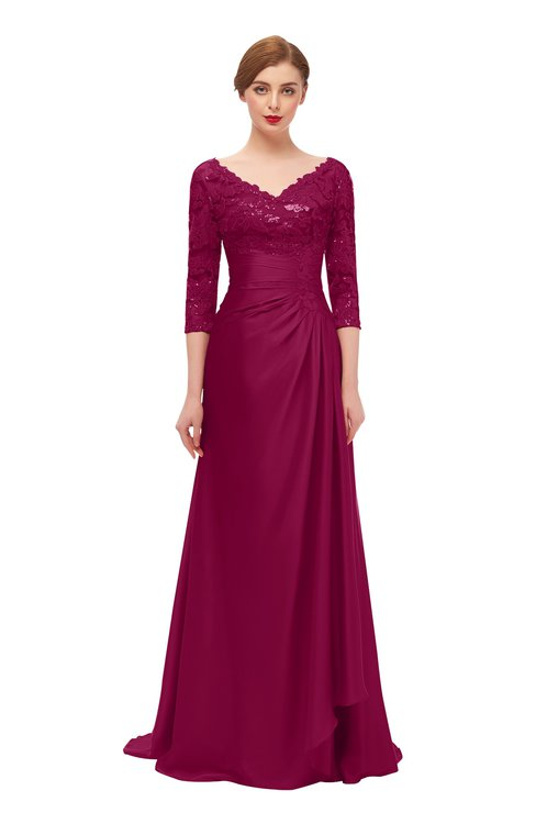 ColsBM Tatum Burgundy Bridesmaid Dresses Luxury Zipper Three-fourths Length Sleeve Brush Train Lace V-neck