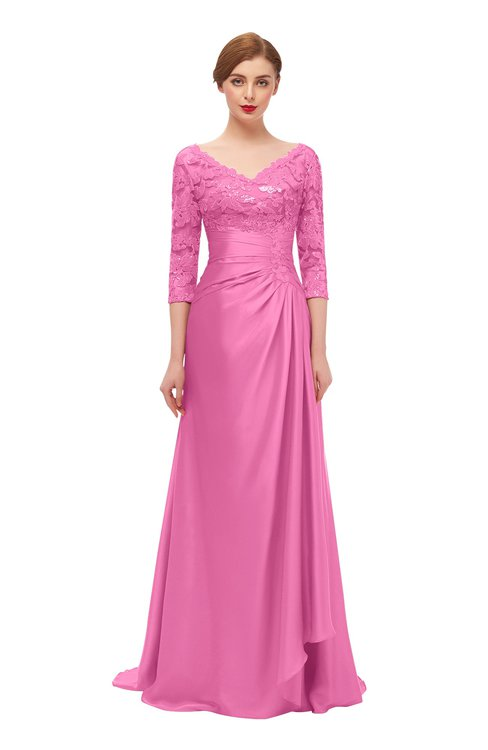 ColsBM Tatum Carnation Pink Bridesmaid Dresses Luxury Zipper Three-fourths Length Sleeve Brush Train Lace V-neck