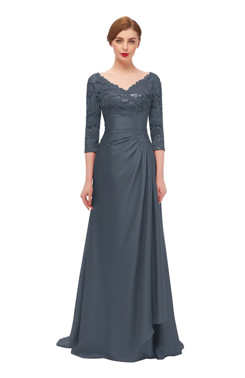 ColsBM Tatum Charcoal Bridesmaid Dresses Luxury Zipper Three-fourths Length Sleeve Brush Train Lace V-neck